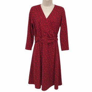 Lands' End Red Print Ruched 3/4 Sleeve Dress S